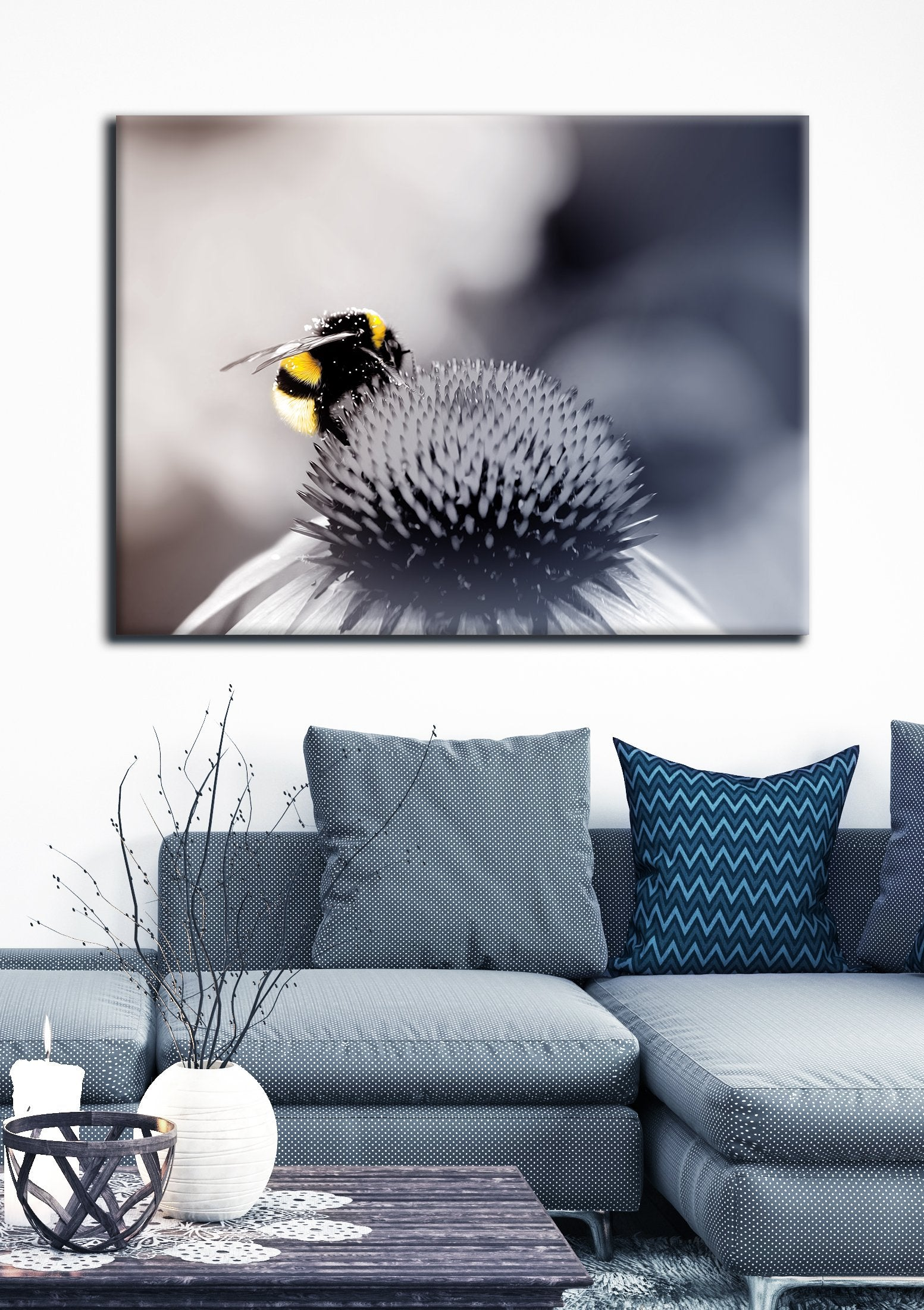 Insect Wall Art: Bumble Bee Yellow (Wood Frame Ready To Hang)