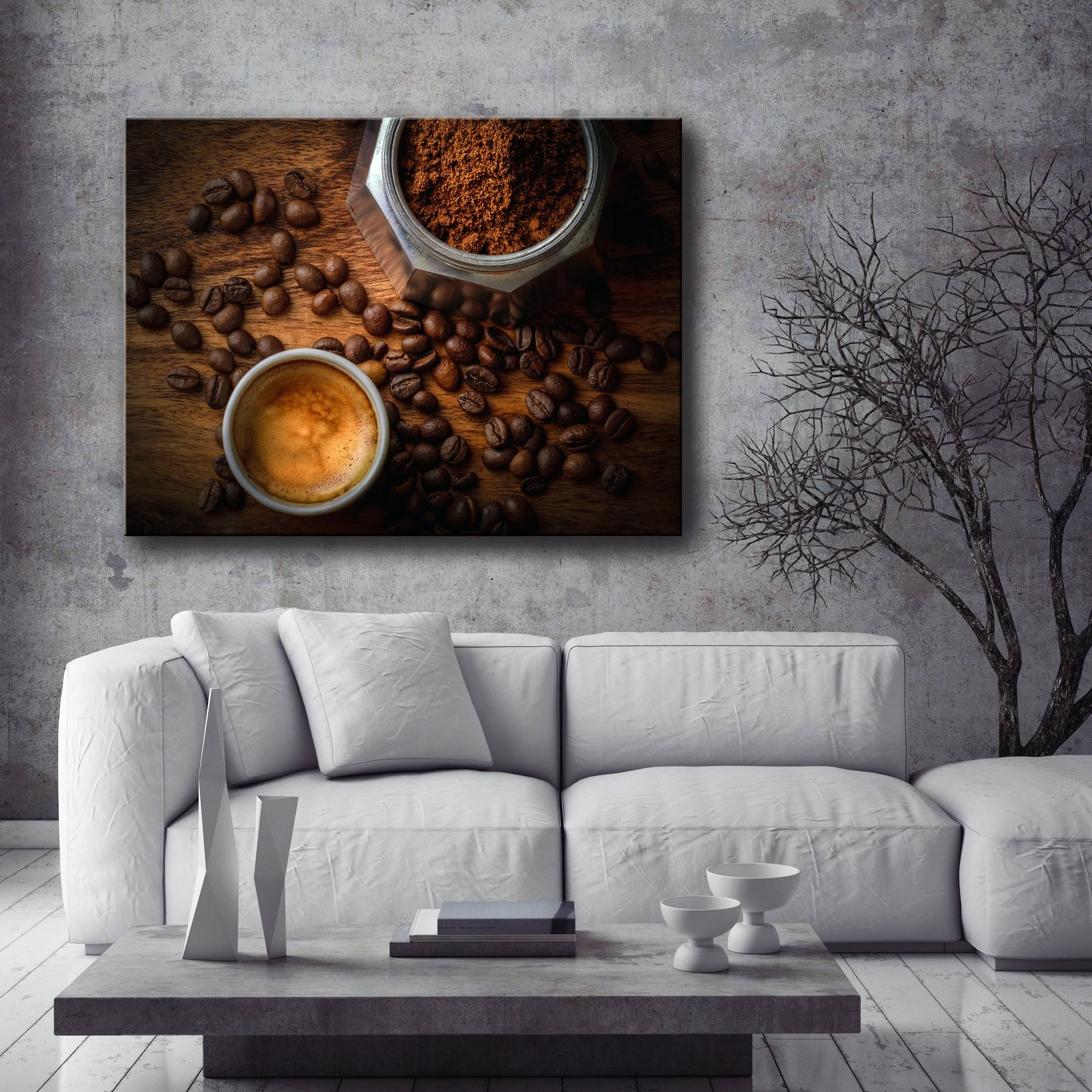 Coffee Wall Art: White Mug Coffee Beans (Wood Frame Ready To Hang)