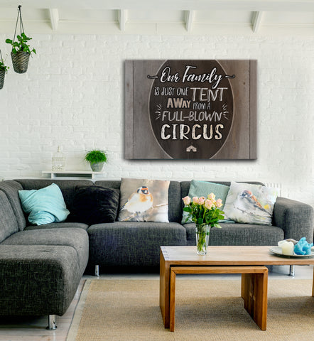 Family Wall Art: Circus Family (Wood Frame Ready To Hang)