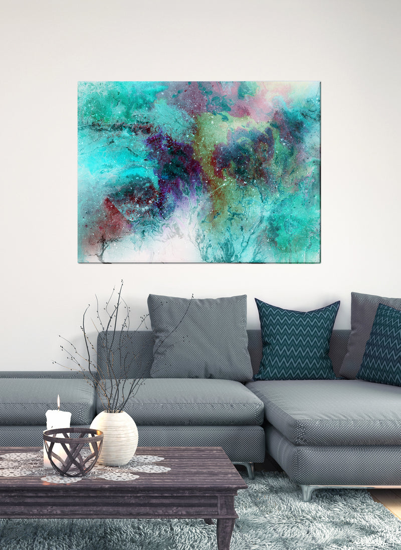Paint Splash Wall Art: Cloud Color Splash Paint (Wood Frame Ready To Hang)