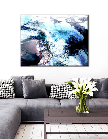 Abstract Home Decor Wall Art:  Cold ice flats (Wood Frame Ready To Hang)