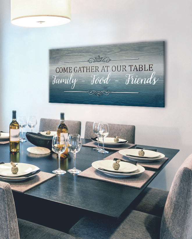 Home Wall Art: Come Gather At Our Table (Wood Frame Ready To Hang)