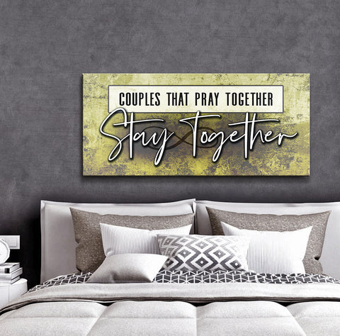 Couples Wall Art: Couples That Pray Together Stays Together (Wood Frame Ready To Hang)