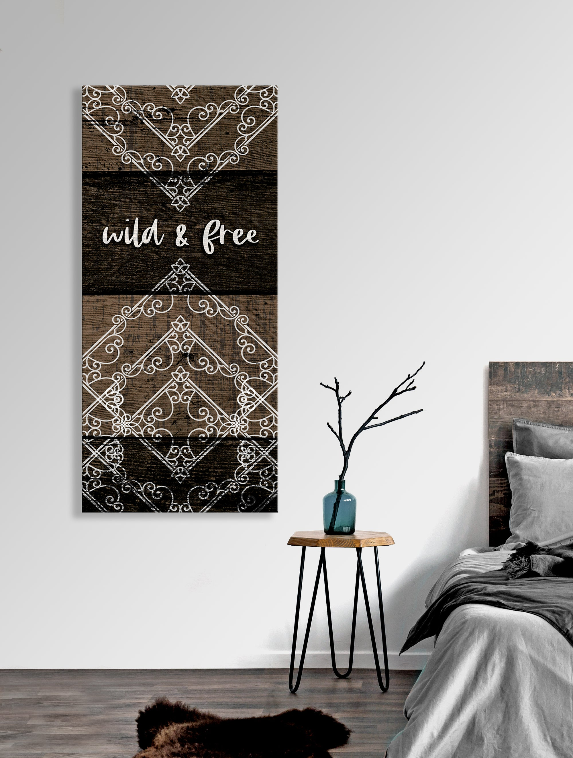 Home Wall Art: Boho Wild and Free V5 (Wood Frame Ready To Hang)