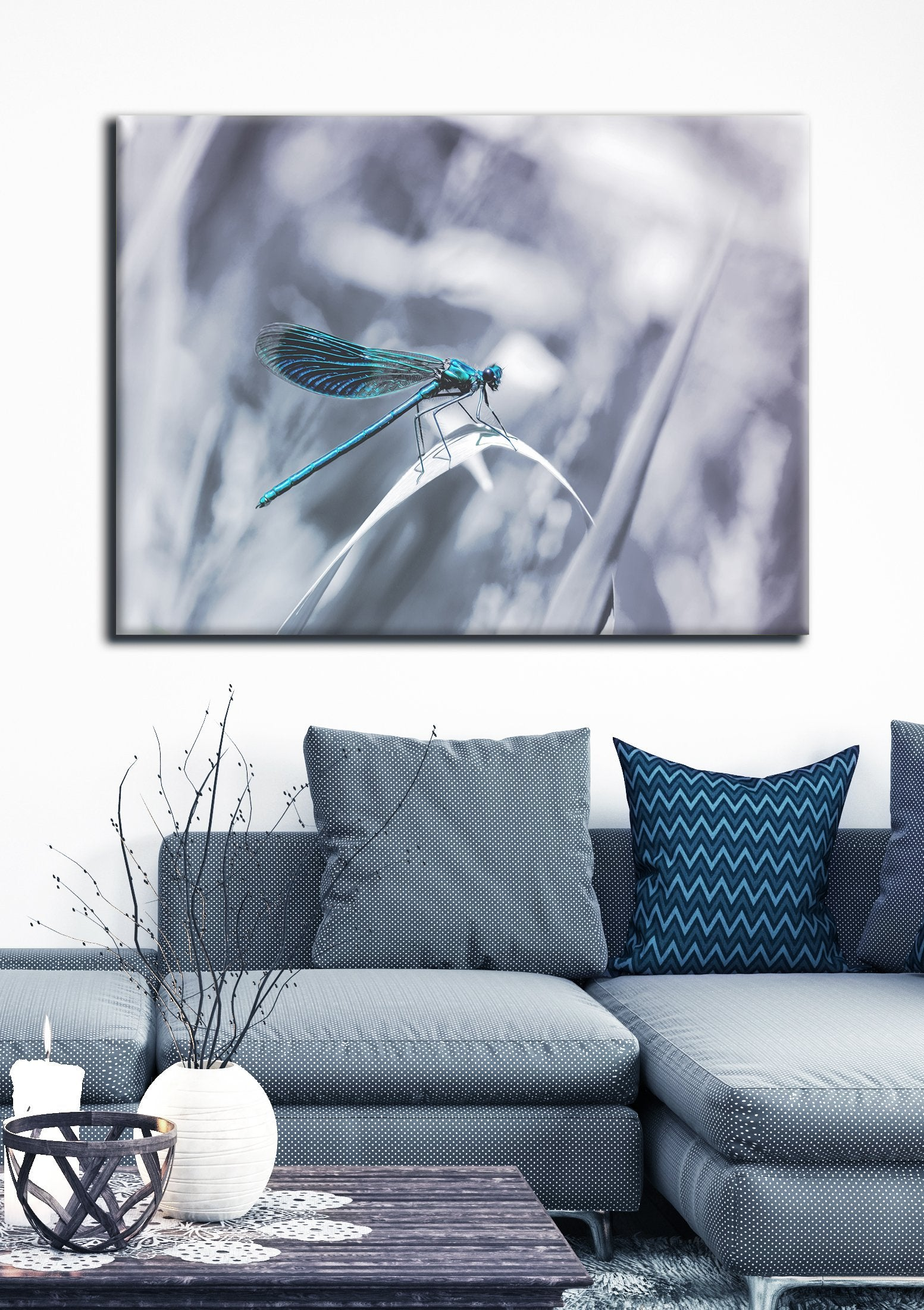 Insect Wall Art: Damsel Dragonfly (Wood Frame Ready To Hang)