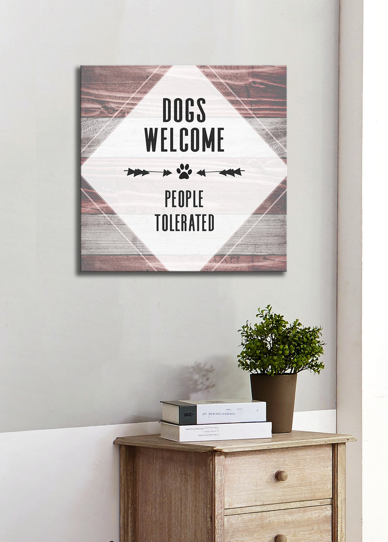 Pet Wall Art: Dogs Welcome (Wood Frame Ready To Hang)