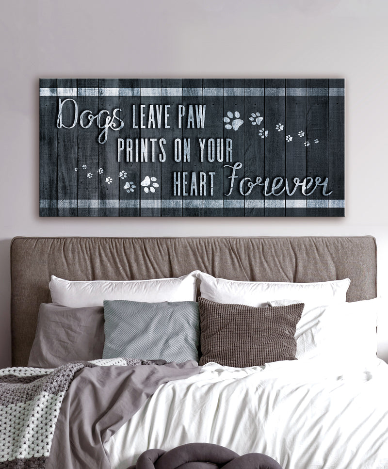 Pet Wall Art: Dog Leaves Paw (Wood Frame Ready To Hang)