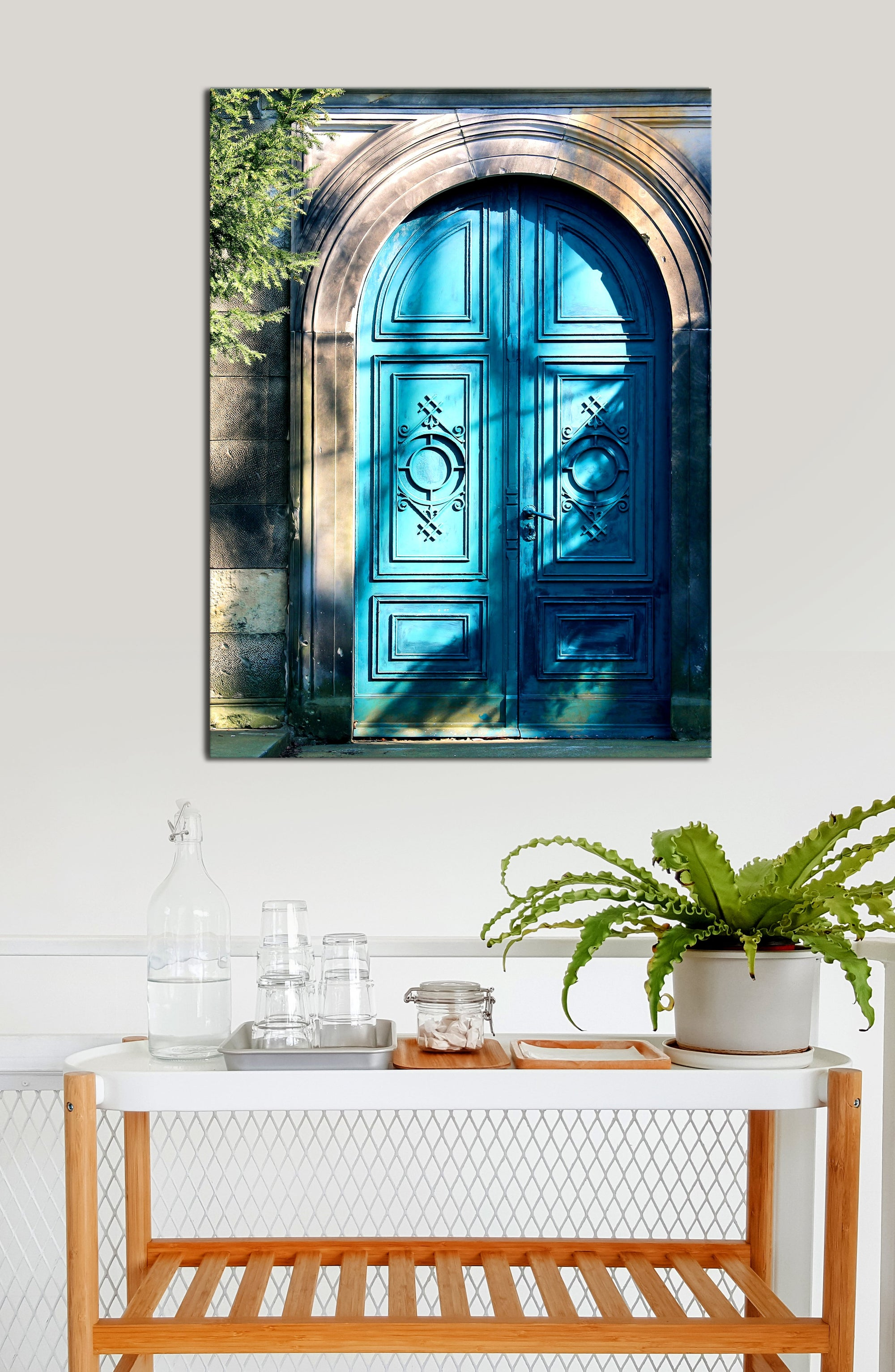 Kitchen Wall Art: Door Blue (Wood Frame Ready To Hang)