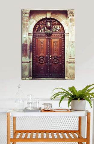Kitchen Decor Wall Art:  Door Brown (Wood Frame Ready To Hang)