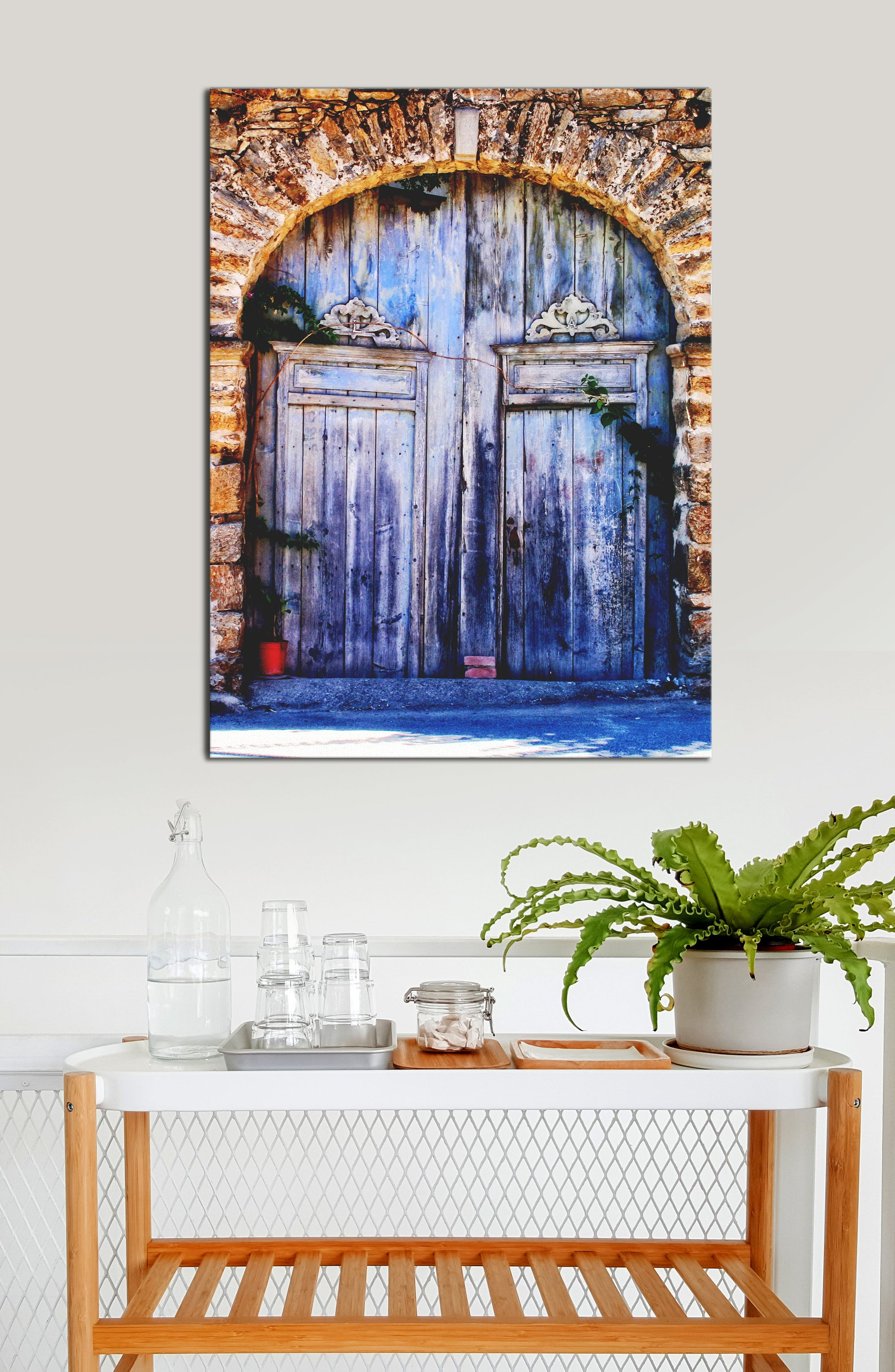 Kitchen Wall Art: Door Old Blue Stones (Wood Frame Ready To Hang)