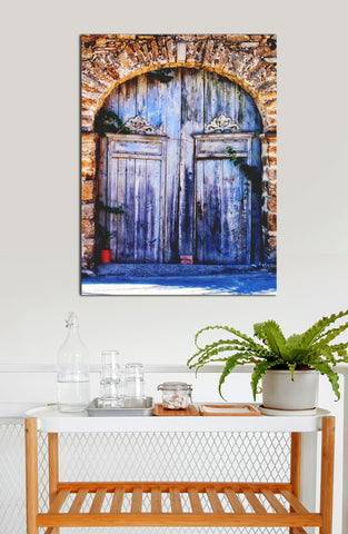 Kitchen Decor Wall Art:  Door Old Blue Stones (Wood Frame Ready To Hang)