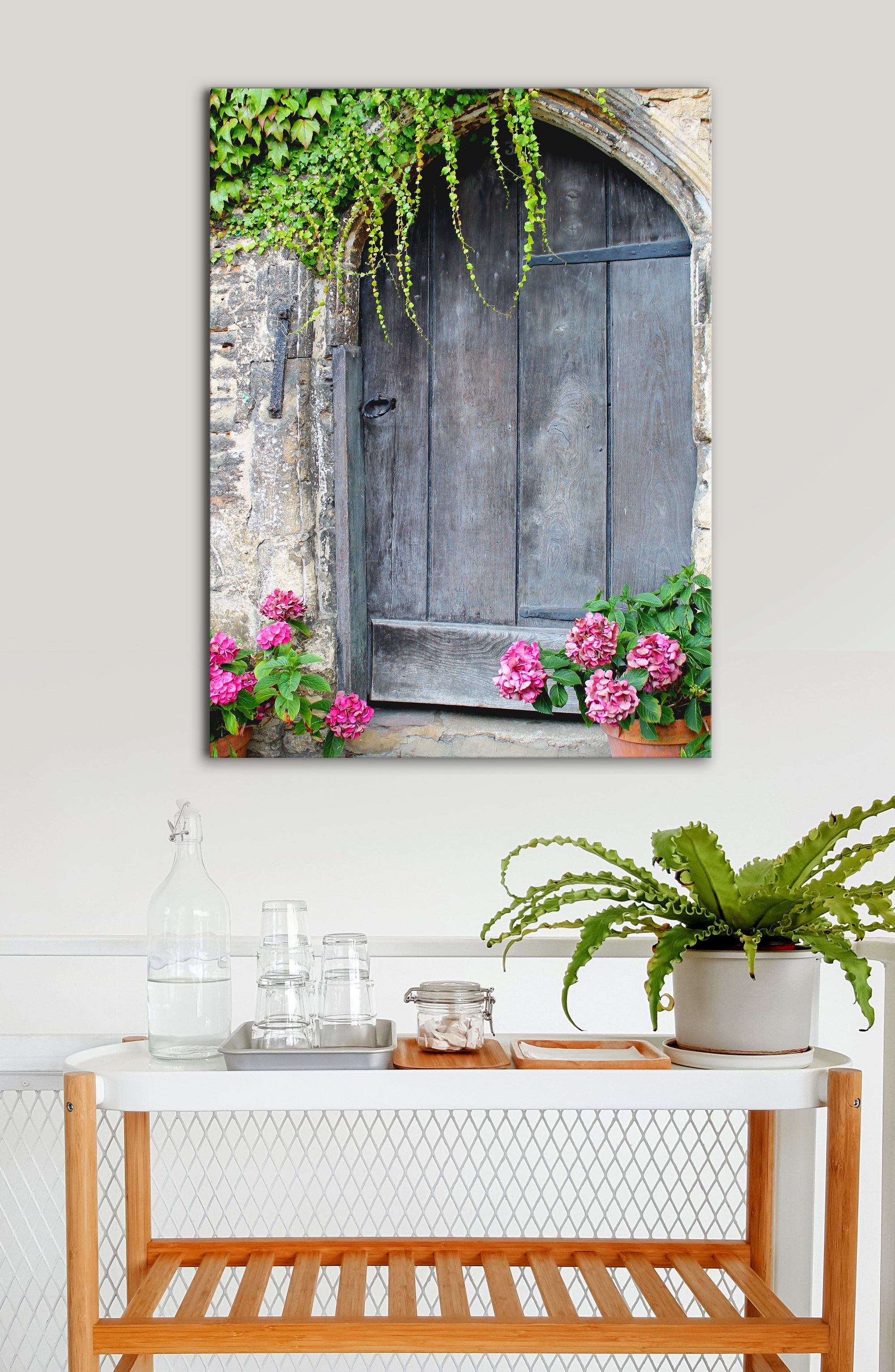Kitchen Wall Art: Door Pink Flowers (Wood Frame Ready To Hang)