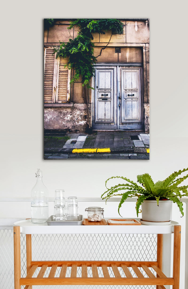 Kitchen Wall Art: Door Old Grey City (Wood Frame Ready To Hang)