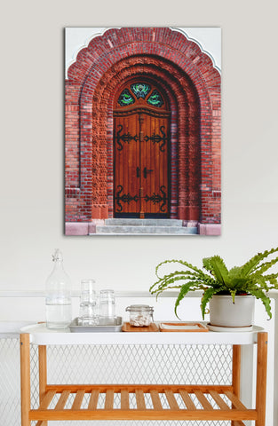 Kitchen Decor Wall Art:  Door Red Brick (Wood Frame Ready To Hang)