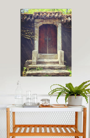 Kitchen Decor Wall Art:  Door Vintage Vines (Wood Frame Ready To Hang)