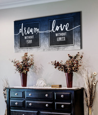 Couples Wall Art: Dream Without Fears Love Without Limits (Wood Frame Ready To Hang)