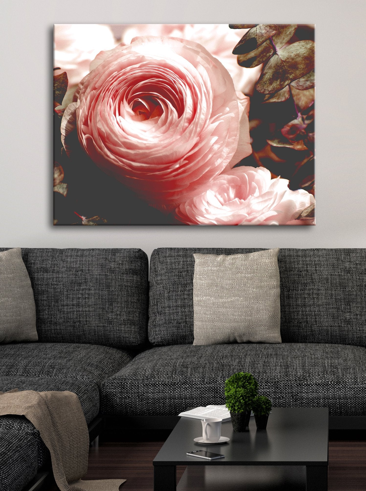 Flower Wall Art: Dusty Rose Buttercup Flower (Wood Frame Ready To Hang)