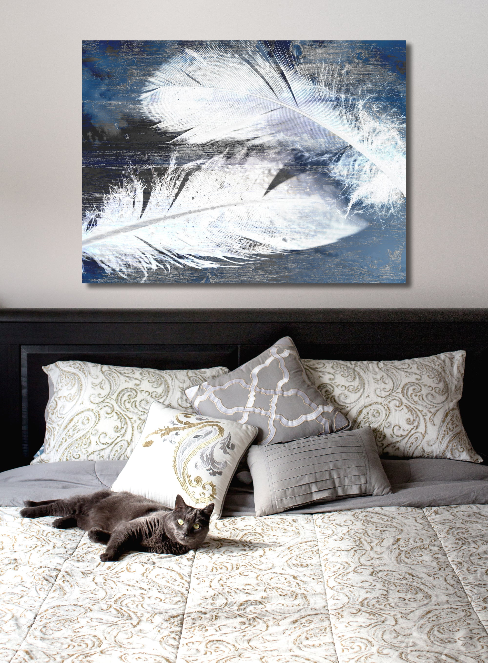 White Silhouette Art: ELEGANT FEATHERS (Wood Frame Ready To Hang)