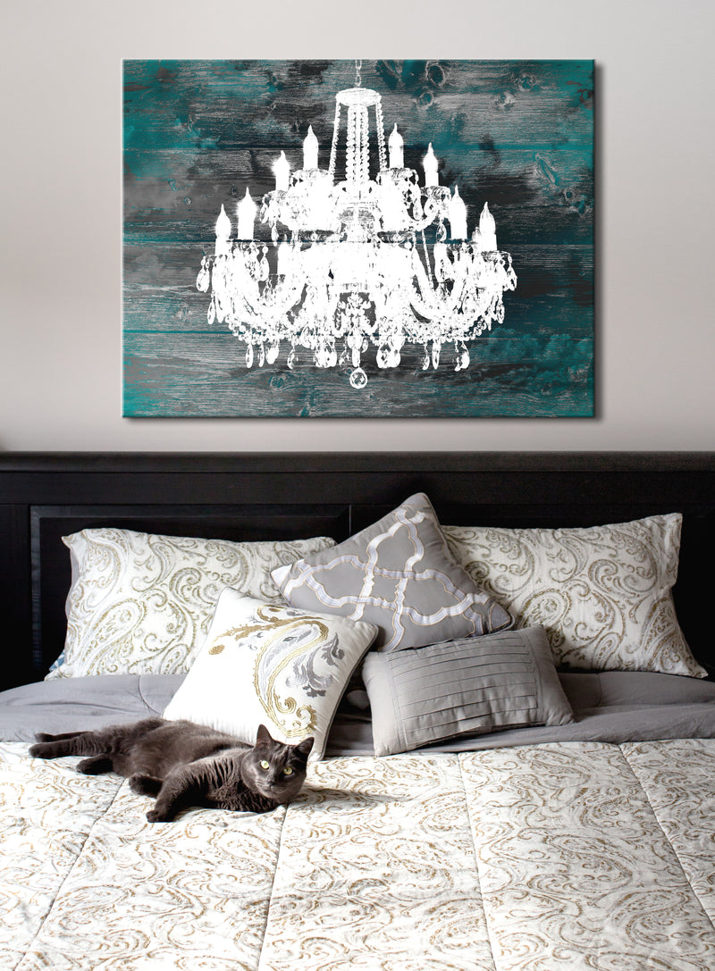 White Silhouette Art: Elegant Chandelier (Wood Frame Ready To Hang)