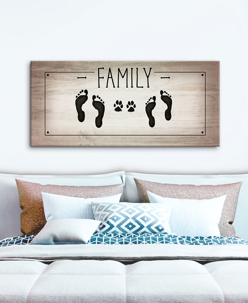 Pet Wall Art: Family Foot Prints Paw (Wood Frame Ready To Hang)
