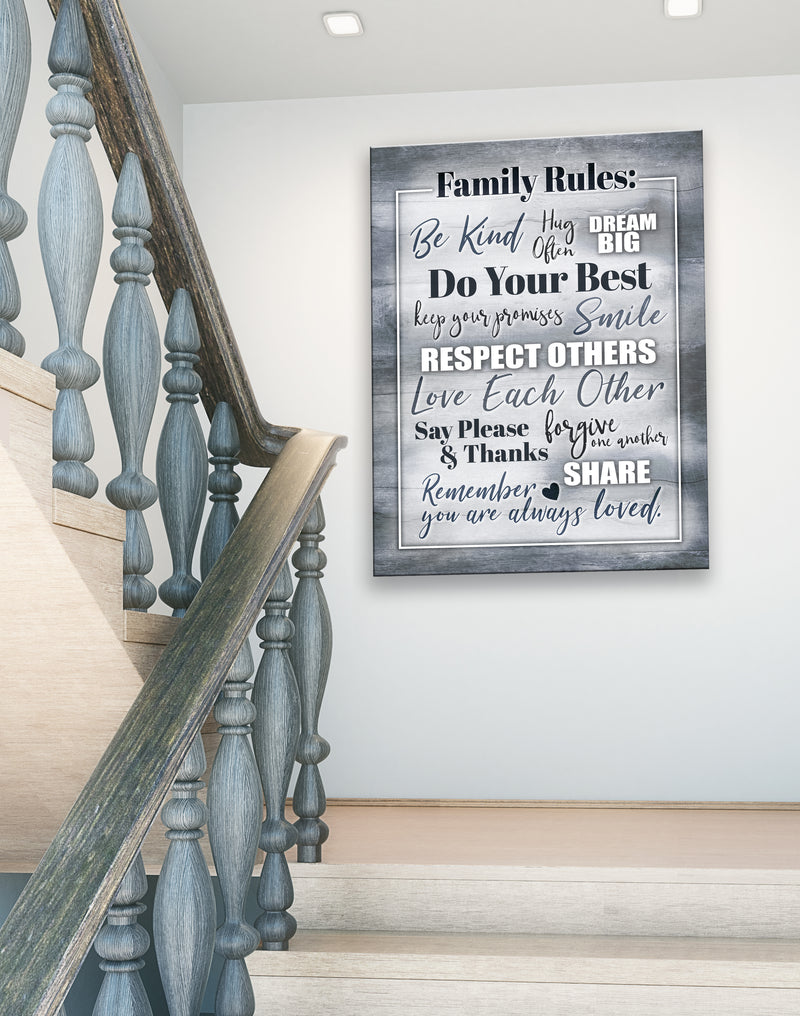 Home Wall Art: Family Rules V2 (Wood Frame Ready To Hang)