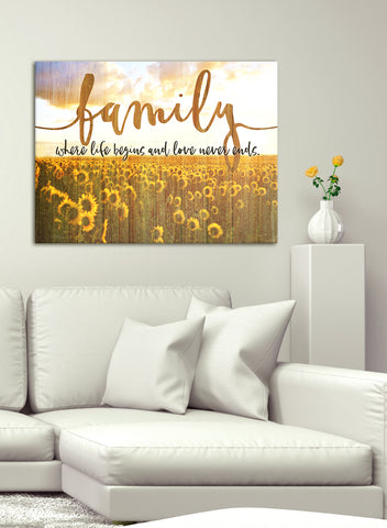 Home Decor Art: Family where life begins V3 Sunflowers (Wood Frame Ready To Hang)