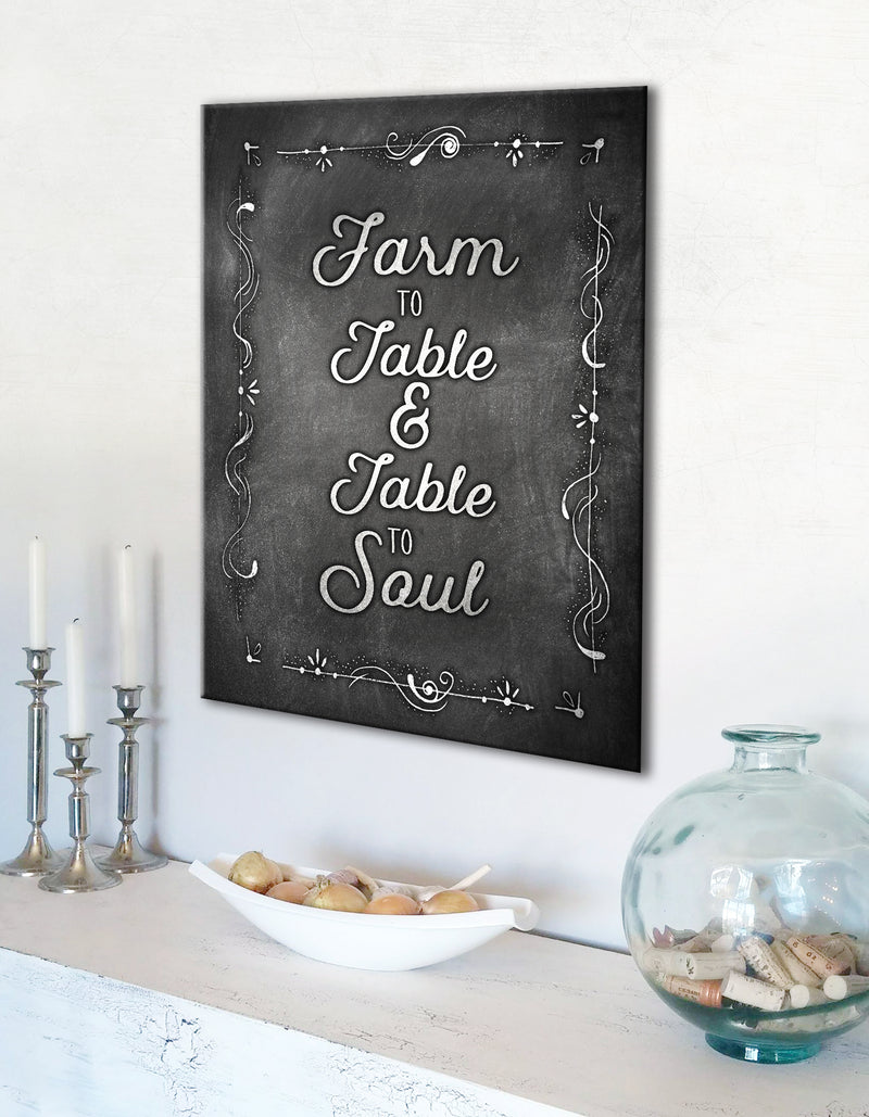 Farm Wall Art: Farm To Table And Table To Soul (Wood Frame Ready To Hang)