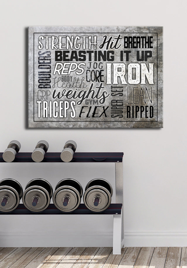 Fitness Wall Art: Fitness Words (Wood Frame Ready To Hang)