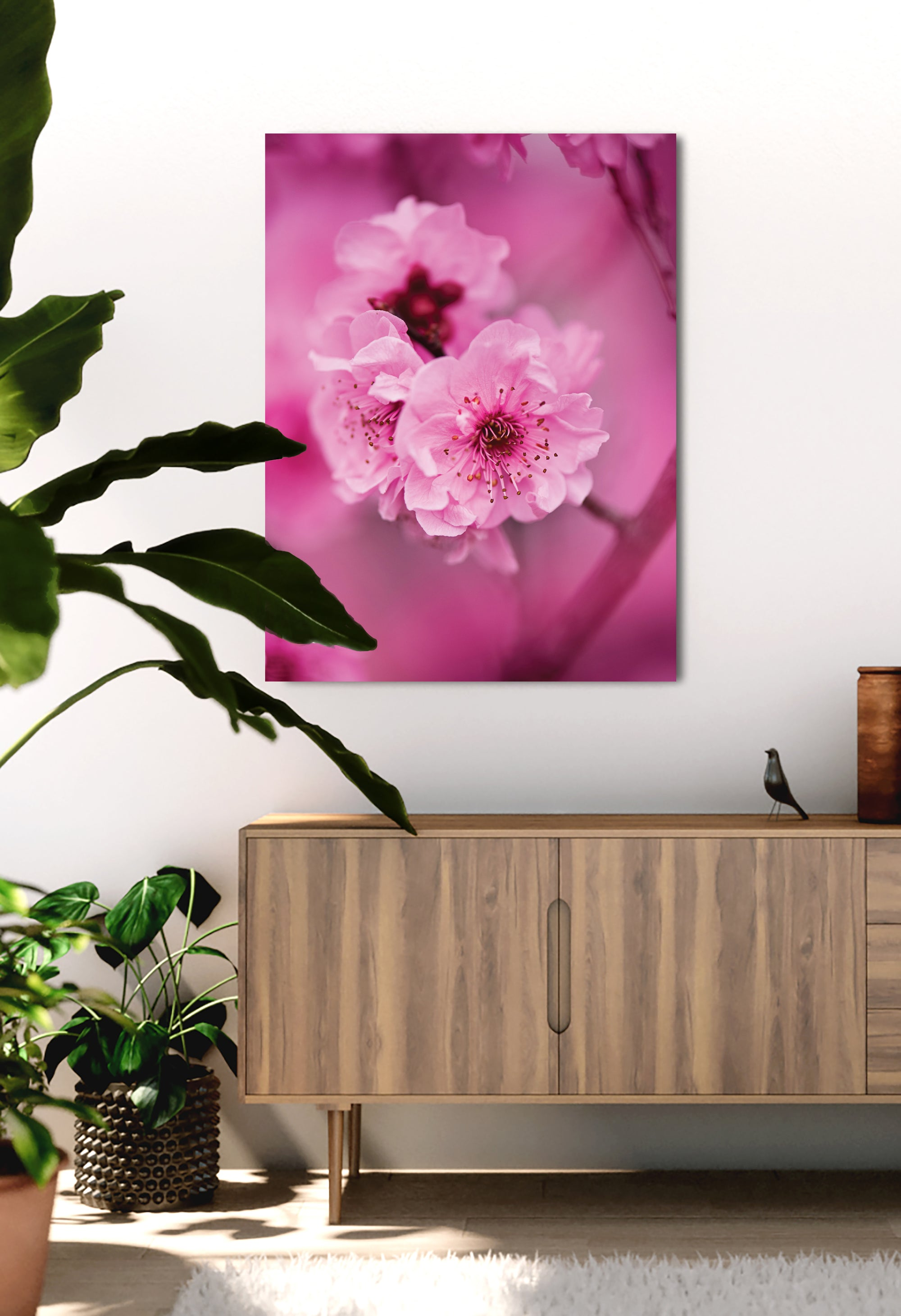 Flower Wall Art: Focused Cherry Blossoms (Wood Frame Ready To Hang)