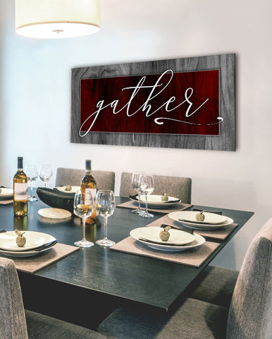 Kitchen Decor Wall Art: Gather V2 (Wood Frame Ready To Hang)