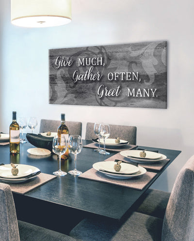 Christian Wall Art: Give Much Gather Many Greet Much (Wood Frame Ready To Hang)