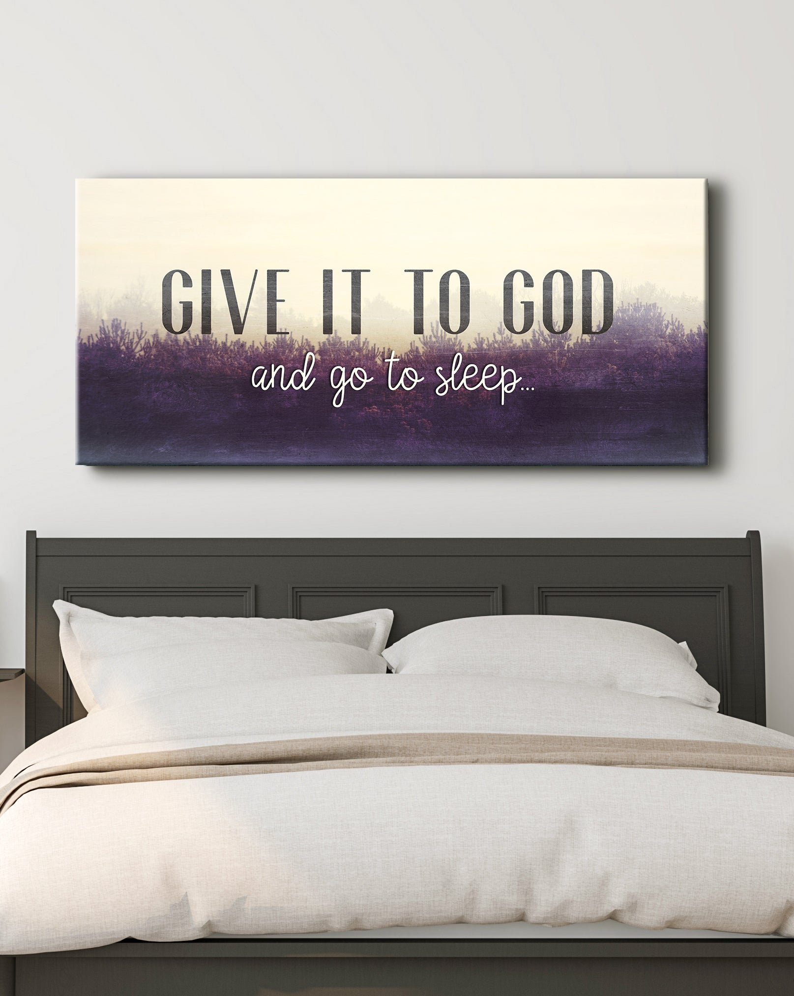 Christian Wall Art: Give It To God And Go To Sleep (Wood Frame Ready To Hang)