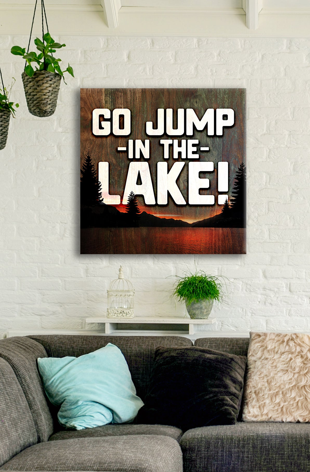 Cottage Life Art: Go Jump In The Lake (Wood Frame Ready To Hang)