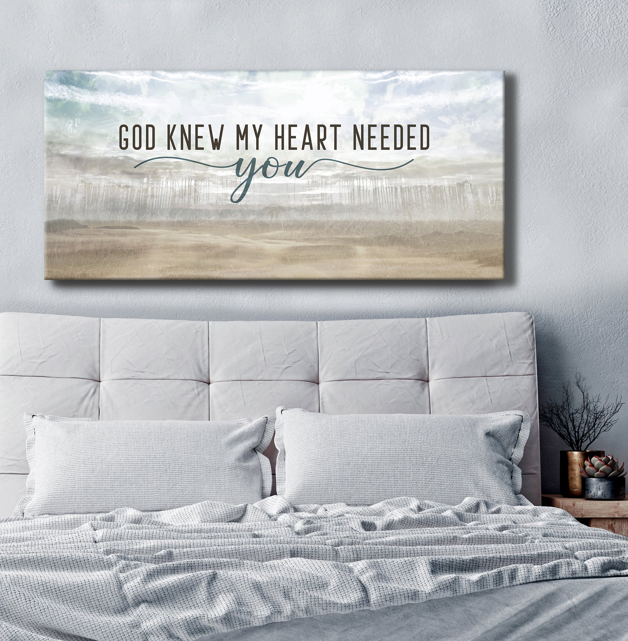 Christian Wall Art: God Knew My Heart Needed You V5 (Wood Frame Ready To Hang)