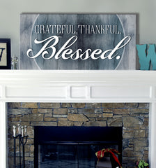 Christian Wall Art: Grateful Thankful Blessed V2 (Wood Frame Ready To Hang)