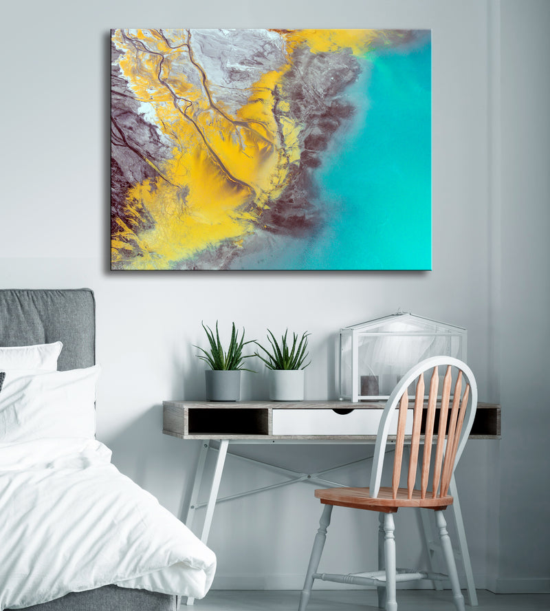 Paint Splash Wall Art: Grey Mustard Yellow with Teal Color Splash Paint (Wood Frame Ready To Hang)