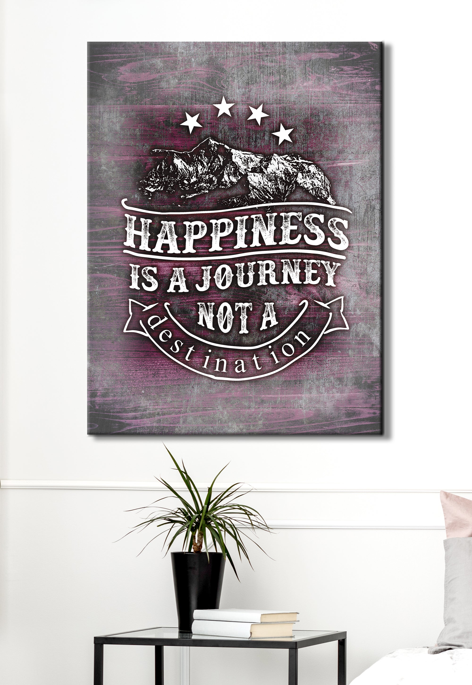 Vintage Style Art: Happiness Is A Journey (Wood Frame Ready To Hang)