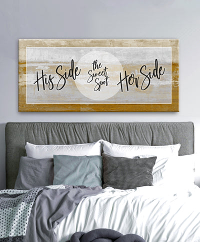 Couples Wall Art: His Side Her Side (Wood Frame Ready To Hang)