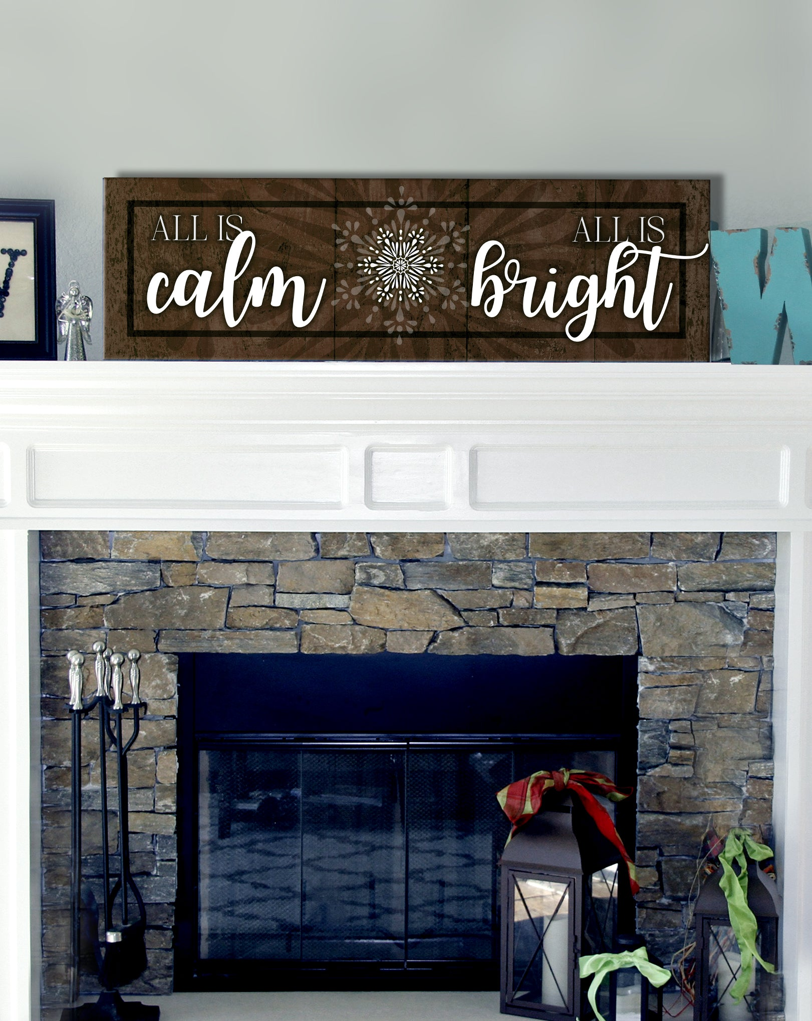 Holiday Decor Wall Art: All Is Calm All Is Bright (Wood Frame Ready To Hang)