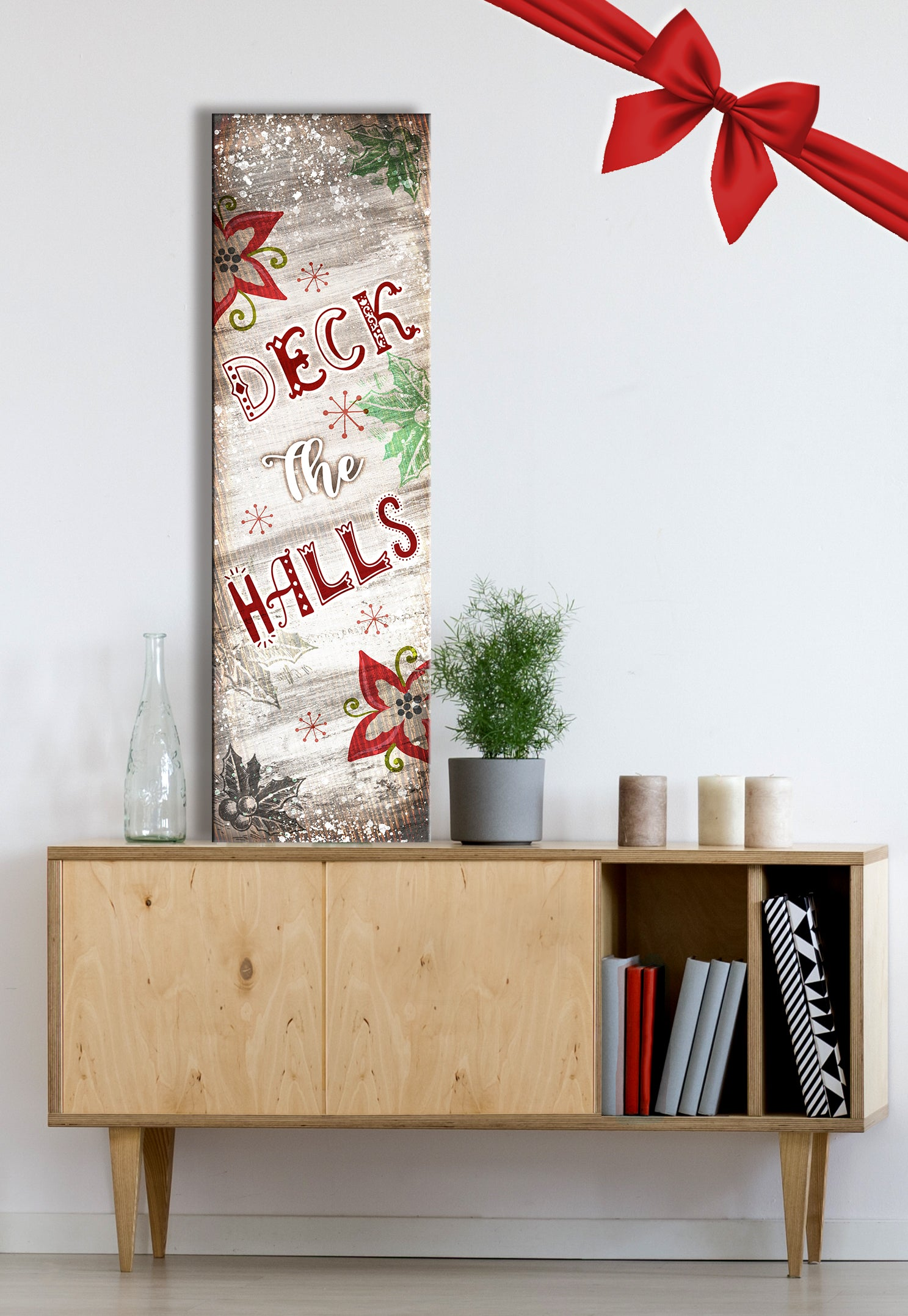 Holiday Decor Wall Art: Deck The Halls (Wood Frame Ready To Hang)
