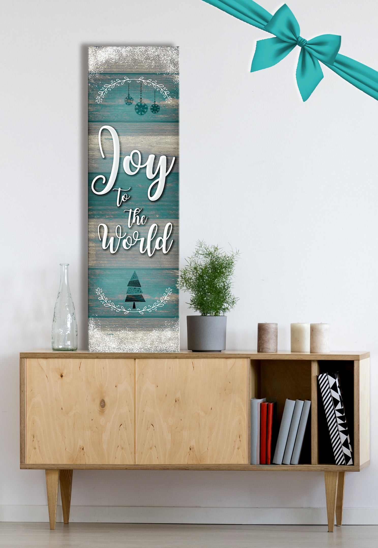 Holiday Decor Wall Art: Joy To The World (Wood Frame Ready To Hang)