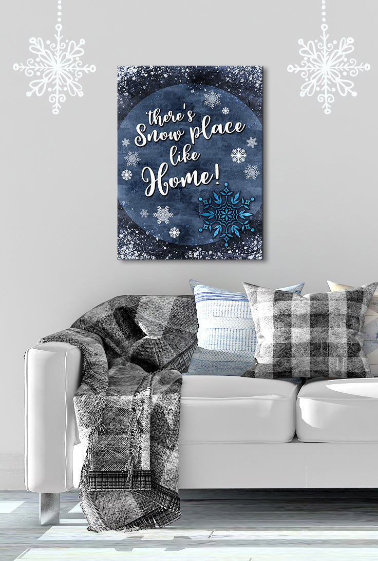 Holiday Decor Wall Art: Theres Snow Place like Home Snowflake (Wood Frame Ready To Hang)