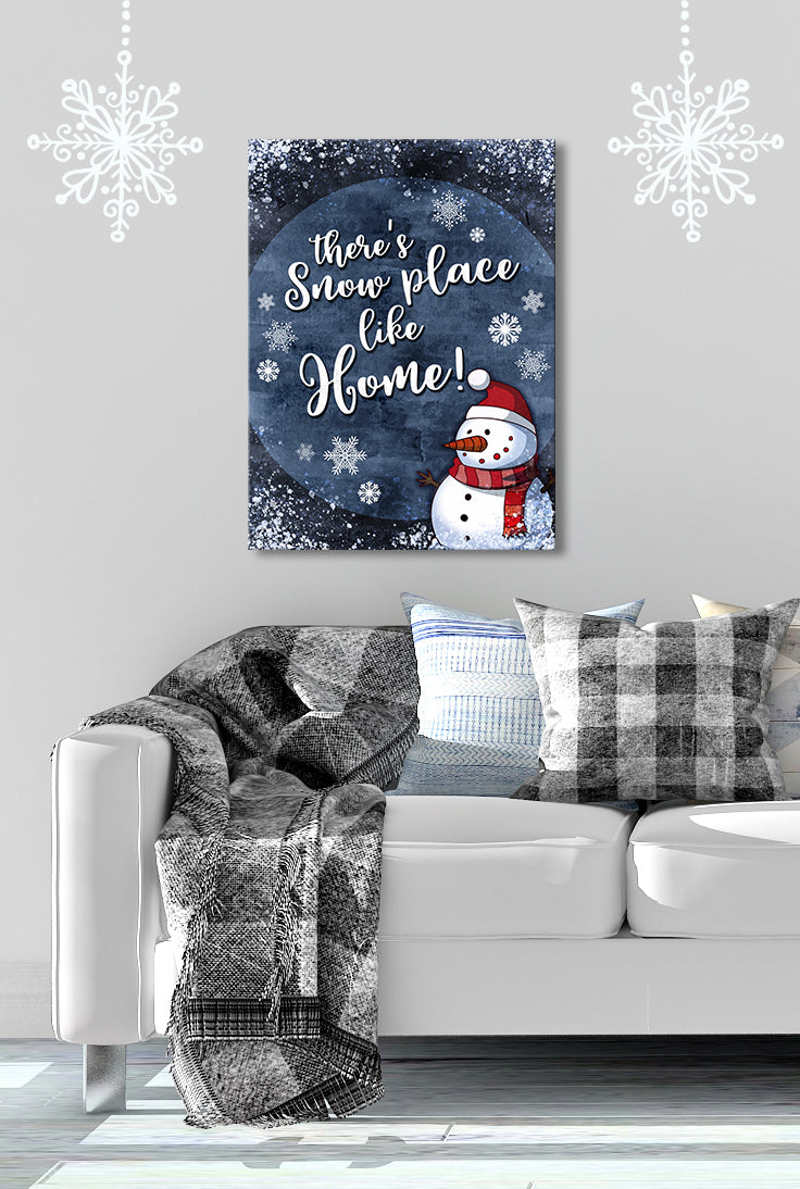 Holiday Decor Wall Art: Theres Snow Place like Home Snowman (Wood Frame Ready To Hang)