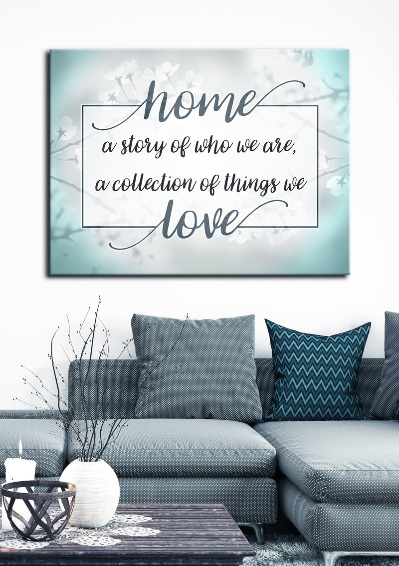 Home Wall Art: Home A Story Of Who We Are V3 (Wood Frame Ready To Hang)
