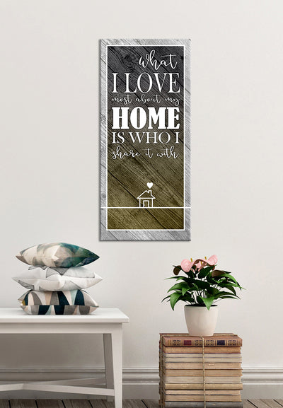 Home Wall Art: I Love My Home Wall Art (Wood Frame Ready To Hang)
