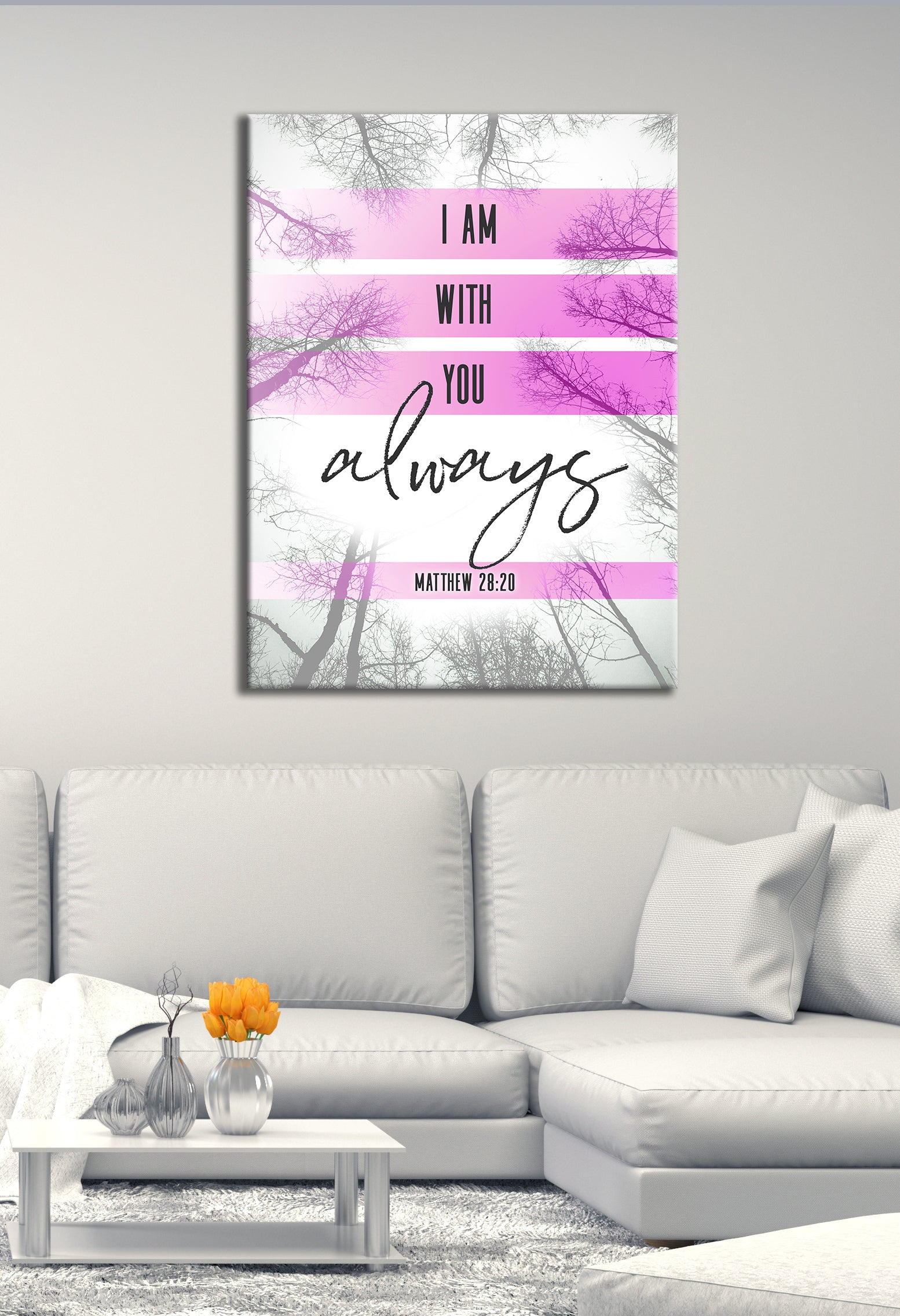 Christian Wall Art: I Am With You Always (Wood Frame Ready To Hang)