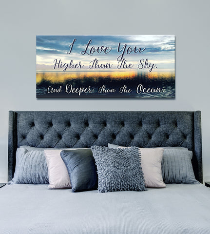 Couples Wall Art: I Love You Higher Than The Sky  (Wood Frame Ready To Hang)