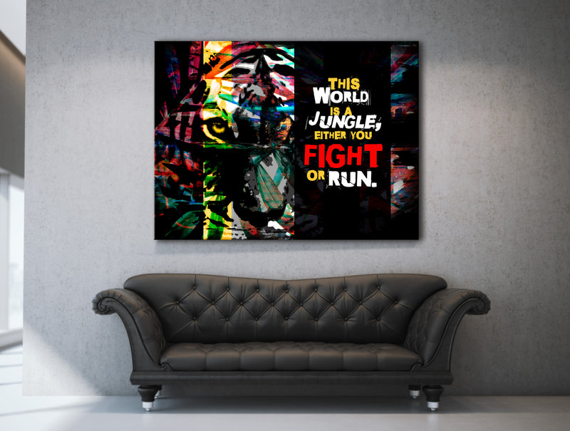 Fitness Wall Art: Jungle World (Wood Frame Ready To Hang)