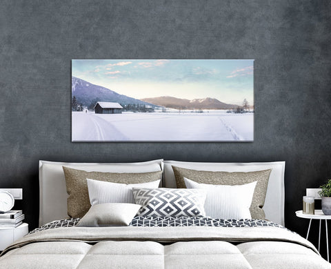Landscape Decor Wall Art: Snow Field (Wood Frame Ready To Hang)