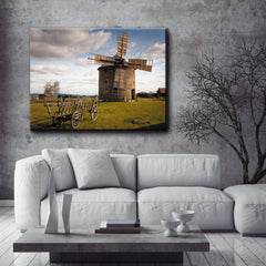 Landscape Decor Wall Art:  Windmill (Wood Frame Ready To Hang)